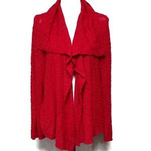 Jones New York Red Knit Waterfall Cardigan